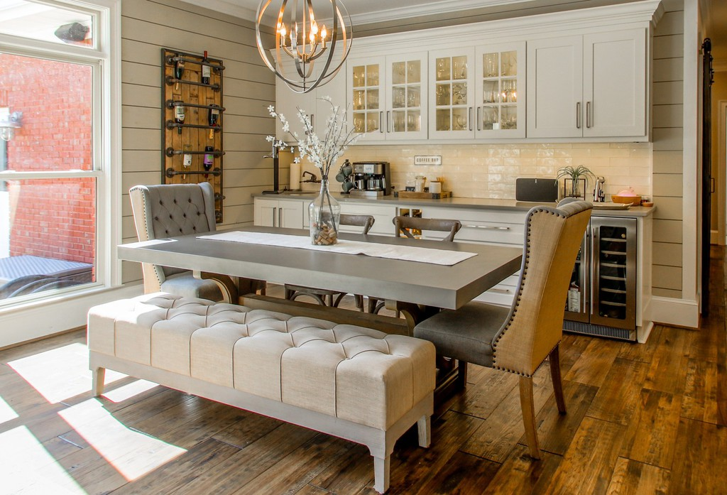 renovated kitchen and dining area of a home